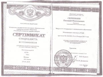 Сертификат Скрипкина Евгения Николаевича